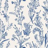Herbal seamless pattern. Blue.