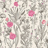 Seamless floral graphic pattern.