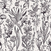 Seamless floral pattern with garden  flowers.