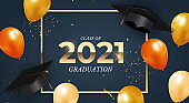 Graduation class of 2021 with graduation cap hat, balloons and confetti. Vector Illustration