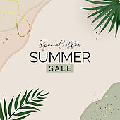 Summer sale poster. Natural Background with Tropical Palm Leaves. Vector Illustration