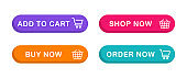Shopping buttons with cart icon. Add to cart button. Buy now button for online shop. Order now icon. Vector illustration.