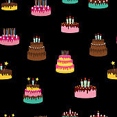 Cute Birthday Seamless Pattern Background with Cake, Candles. Design Element for Party Invitation, Congratulation. Vector Illustration EPS10