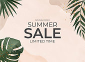 Summer Sale Natural Background with Tropical Palm and Monstera Leaves