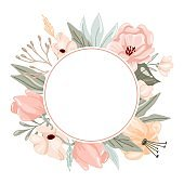 Pastel flowers and leaves frame. Hand drawn elegance boho style botanical circle border, soft colors, romantic decor for wedding and valentines day cards. Vector isolated floral background