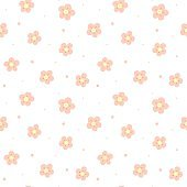 Seamless pattern with flowers. Cute cartoon baby background. Simple pink blossoms and dots. Wallpaper print packaging paper, textile design. flat vector illustration