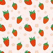 Strawberry seamless pattern. Hand drawn fresh forest or garden berry. Whole juicy berries, doodle summer element on pink background. Decor textile, wrapping paper wallpaper vector print or fabric