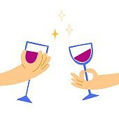 Hands hold wineglasses. Hand drawn red wine glass, alcoholic drink collection, modern bright colors illustrations, celebration and party, vector cartoon flat isolated set