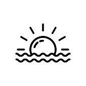 outline sea and sun icon vector, summer beach season sign with Line or shape, sun symbol