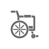 Disabled carriage, wheelchair grey icon. Isolated on white background