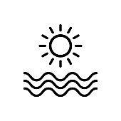 outline ocean icon vector, summer beach sign with Line or shape, sun symbol