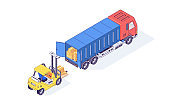 Isometric warehouse boxes forklift truck and loader. Loader load goods into the truck for delivery vector illustration