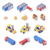 Warehouse isometric set of boxes pallets cargo goods trucks forklifts and racks isolated vector illustration