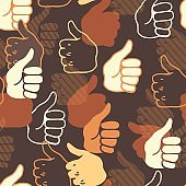 Abstract thumbs up hand gesture vector graphic art seamless pattern