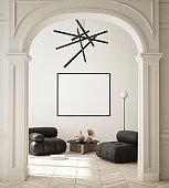 mock up poster frame in modern interior background, minimalistic style, 3D render