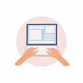 Laptop and hands on the keyboard. Vector flat illustration.