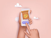 Hand holding mobile smart phone with delivery food app. Order food online. 3D Vector Illustrations.