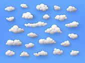 Different shape 3d white clouds on blue background. Vector decoration element.