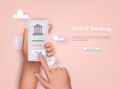 Online banking app on a mobile phone screen. 3D Vector Illustrations.