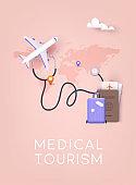 Medical tourism. 3D Vector Illustrations.