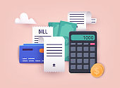 Pay bills and tax. Bills, credit cards and calculator. Home finance and taxes. Payments concept. 3D Web Vector Illustrations.