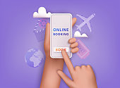 Online booking design concept for mobile phone: hotel, flight, car, tickets. 3D Vector Illustrations.