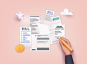 Hand signature bills with pencil. Payment of utility, bank, restaurant and other. 3D Web Vector Illustrations.