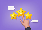 Vector customer review concepts. Reviews stars with good and bad rate and text. 3D Web Vector Illustrations.