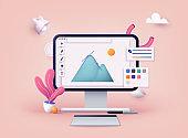 Computer display with vector design program. 3D Web Vector Illustrations.