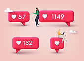 Social media like icon concept. Comment and Follower. 3D Web Vector Illustrations.