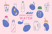 Drink more water banner. Water in a thermos and plastic mug, glass bottle.