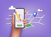 Hand holding mobile smart phone app with track displayed with route. Vector fitness route tracking concept illustration. 3D Vector Illustrations.