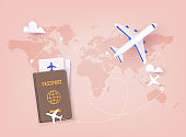 Traveling on airplane, planning a summer vacation, tourism. Online ticket concept. 3D Vector Illustrations.