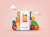 Online grocery shopping. Delivery service. Online ordering of food, grocery delivery, e-commerce. 3D Vector Illustrations.