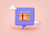 Fast delivery concept. Online shopping. 3D Vector Illustrations.