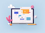 3D Web Vector Illustrations. Concept of Seo Optimization for website and mobile website. Landing page template.