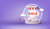 Online shopping concept. 3D Web Vector Illustrations. Discount banner design with 3d rendering.
