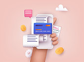 Hand holding mobile smart phone with paying bills. Invoice, bill icon suitable for info graphics. Payment of utility, bank, restaurant and other bill. 3D Web Vector Illustrations.