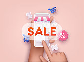 Hand holding smartphone with sale sign. Online shopping concept. 3D Web Vector Illustrations.
