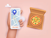 Hand holding mobile smart phone with delivery pizza app. Order food online. 3D Vector Illustrations.