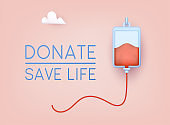 Donate - save life banner. World Blood Donor Day, Health Care. 3D Web Vector Illustrations.