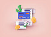 Invoice, bill icon suitable for info graphics. Payment of utility, bank, restaurant and other bill. 3D Web Vector Illustrations.