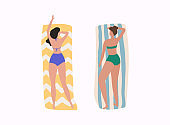 Women on the beach. Summer holiday.