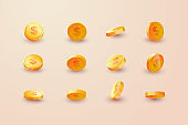 Gold coins set isolated in different positions. Balance profit, income statement and cash flow statement. 3d.