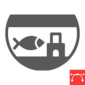 Aquarium glyph icon, pet and fishbowl, fish in aquarium vector icon, vector graphics, editable stroke solid sign, eps 10.