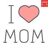 I love mom letters with heart color line icon, mother and text, Happy Mothers Day vector icon, vector graphics, editable stroke filled outline sign, eps 10.