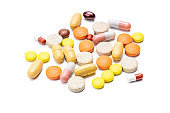 drugs isolated on white background. various pills and tablets cut out. pharmacy concept