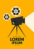 Movie and film poster design template background with vintage camera