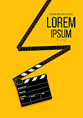 Movie and film poster design template background with filmstrip and clapperboard