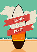 Summer holiday poster and invitation design template background decorative with surfboard flat design